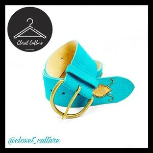 Accessories - Leather Teal Boho Beaded Belt